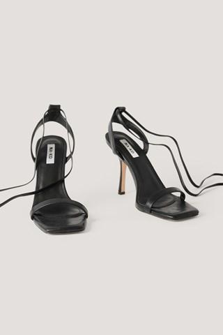 Black Squared Front Tie Strap Heels