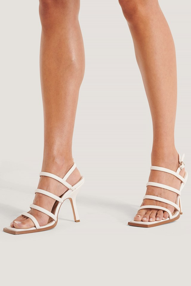 Squared Front Multi Strap Heels White