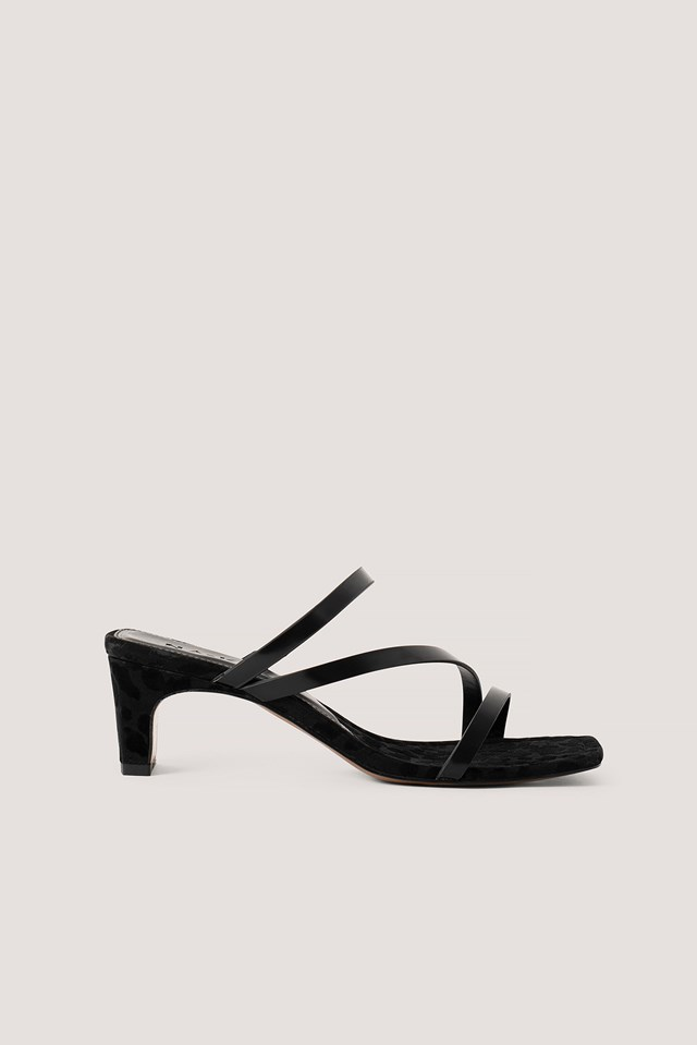 Squared Heel Strappy Sandals Black
