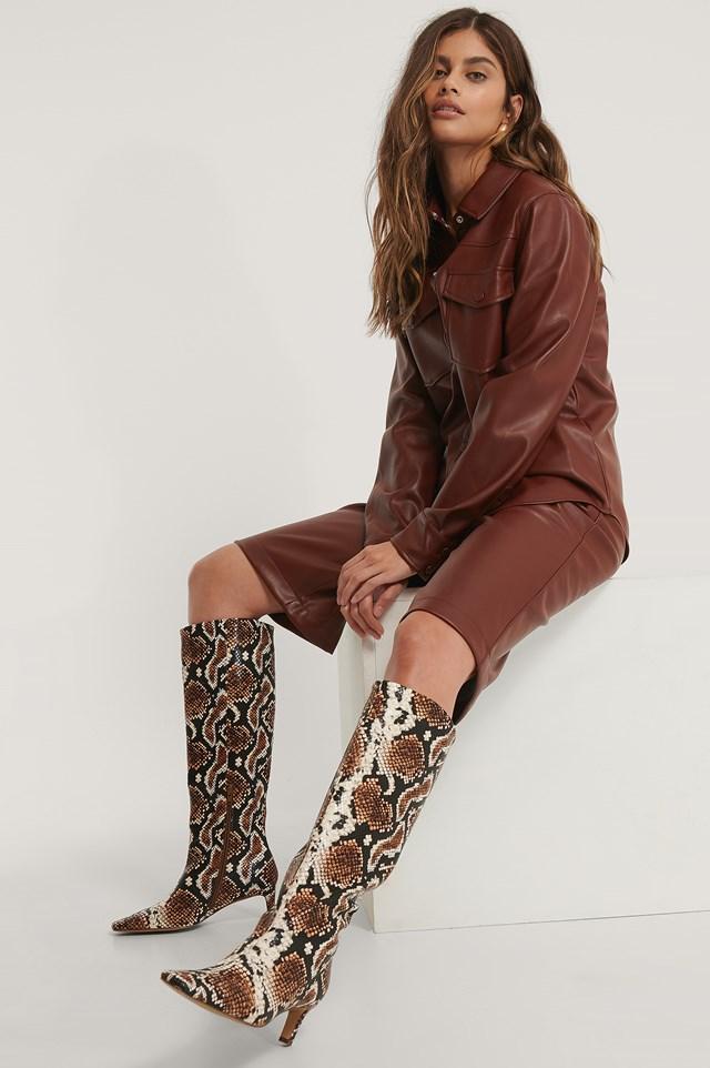 Squared Long Toe Shaft Boots Snake