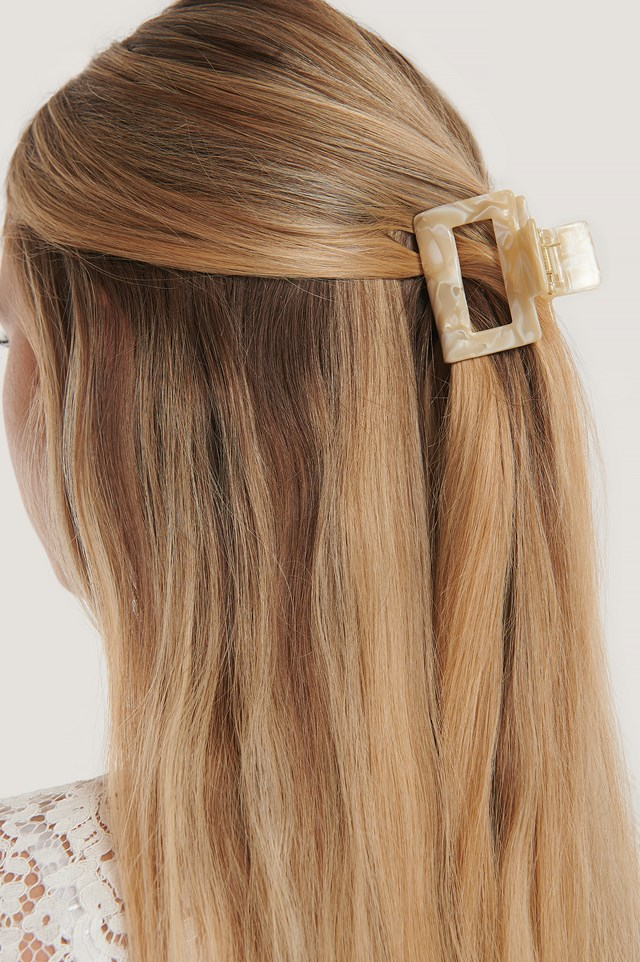 Squared Mini Hairclip Nude