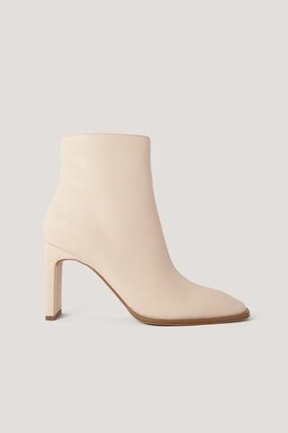 Beige Squared Slanted Toe Boots