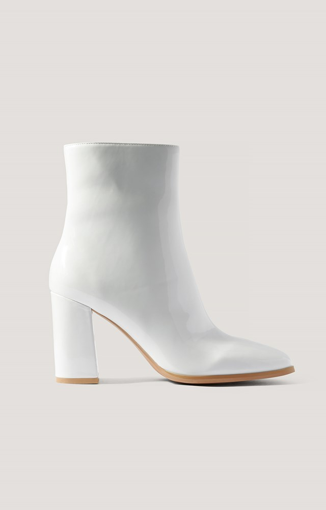 Squared Toe Patent Boots White