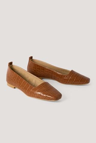 Cognac Squared Toe Ballerinas
