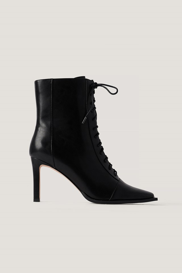 Squared Toe Lace Up Boots Black
