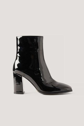 Black Squared Toe Patent Boots