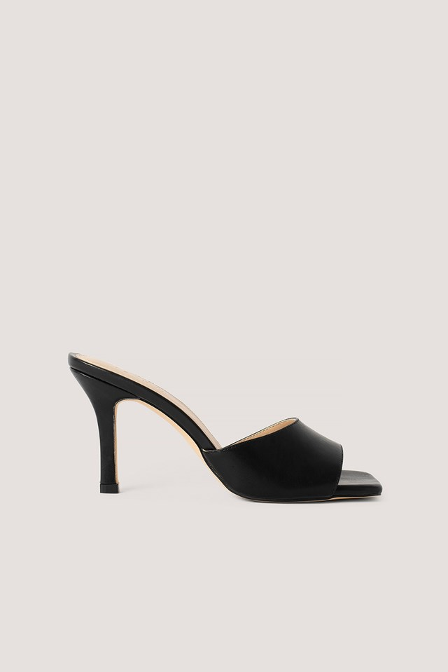 Squared Toe Stiletto Mules Black