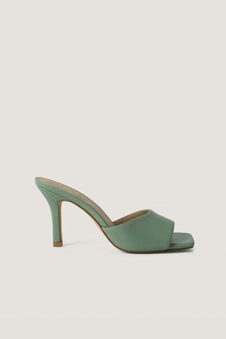 Dusty Green Squared Toe Stiletto Mules