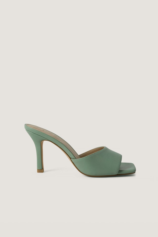 Squared Toe Stiletto Mules Dusty Green