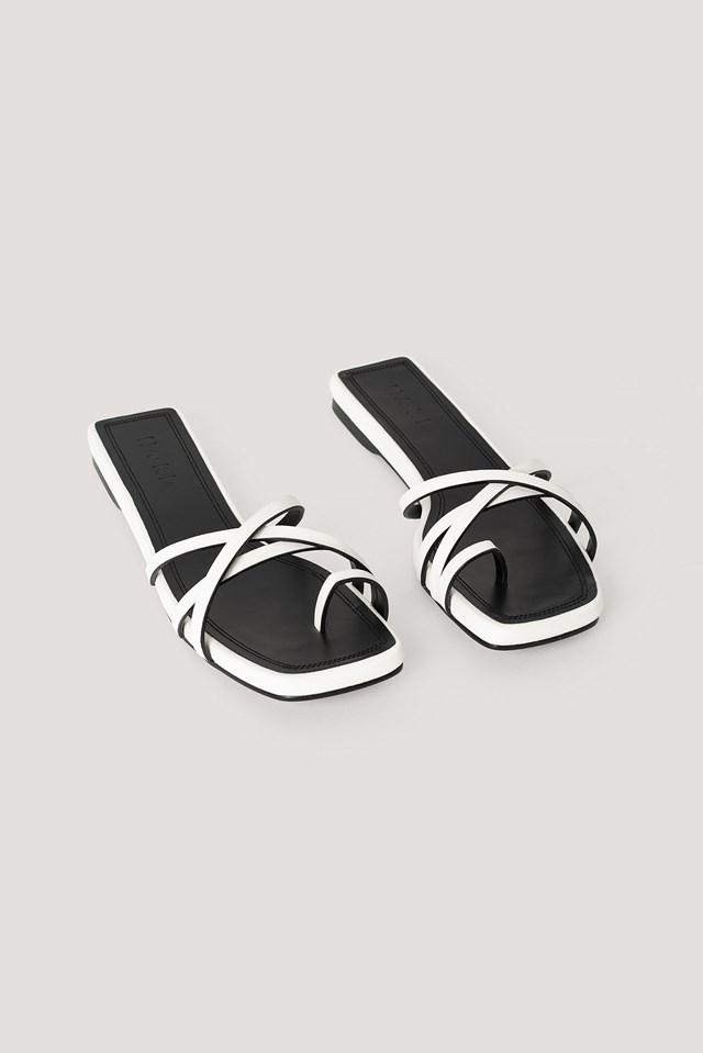 Squared Toe Strap Flats White/Black