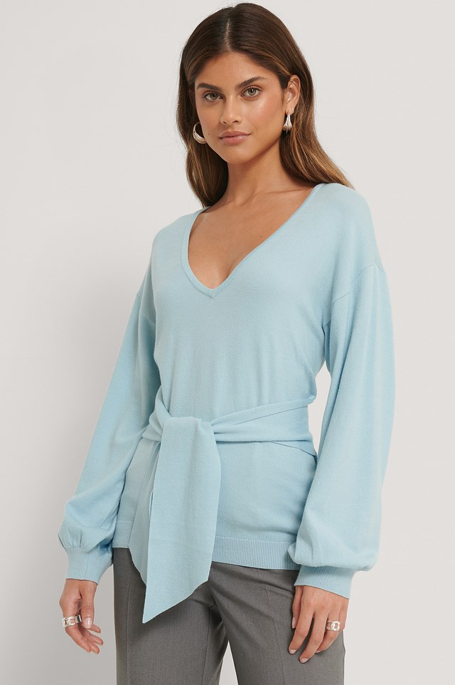 Front Knot Knitted Sweater Blue