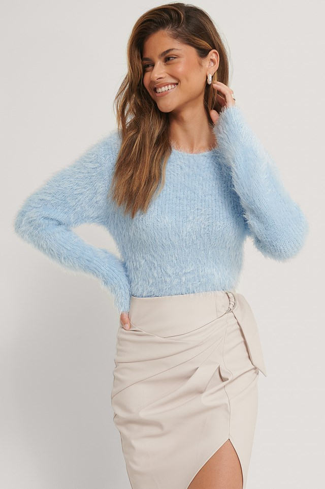 Fuzzy Knit Sweater Blue