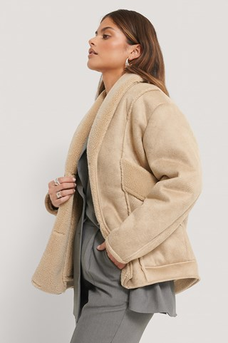 Beige Slanted Pocket Suede Jacket