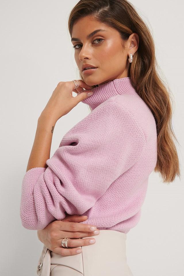 Big Shoulder Knitted Sweater Pink