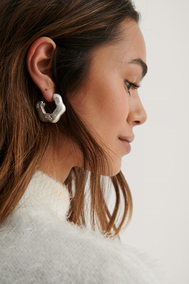 Stone Detailed Hoops Silver