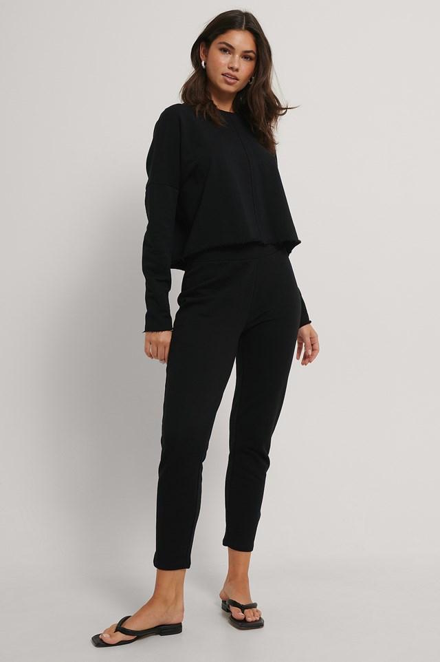 Straight Basic Sweatpants Black