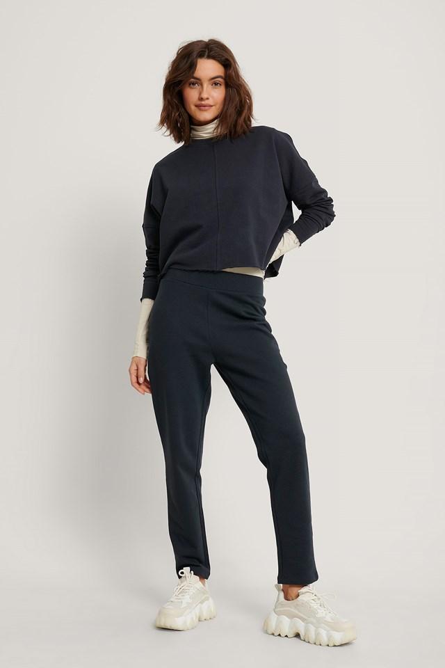 Straight Basic Sweatpants Dark Navy