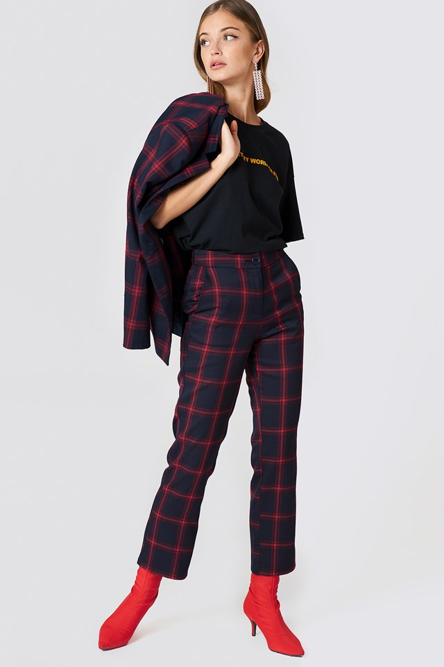 Straight Checkered Suit Pants Checkered