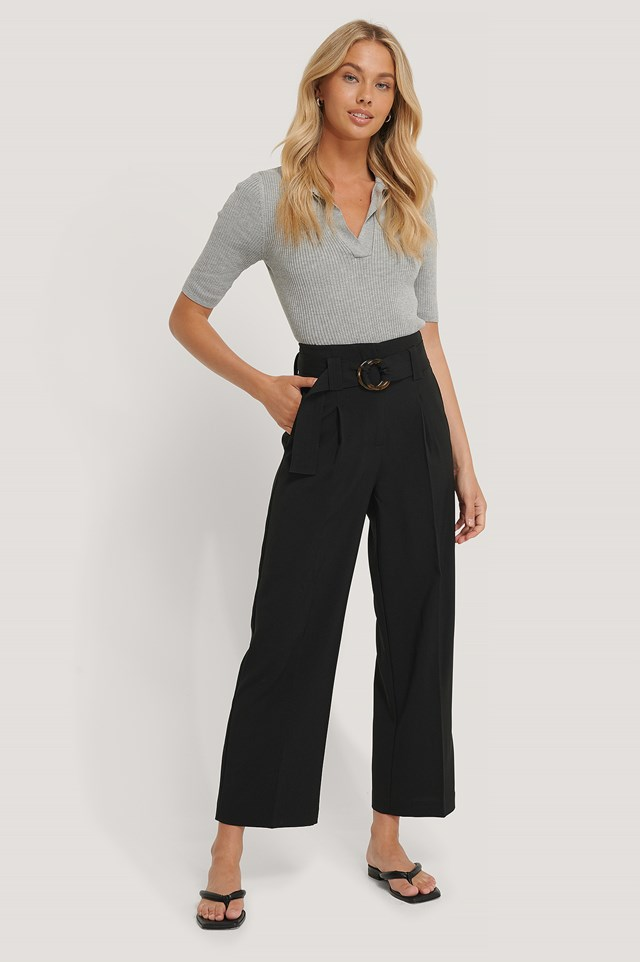Straight Fit Belted Pants NA-KD Classic
