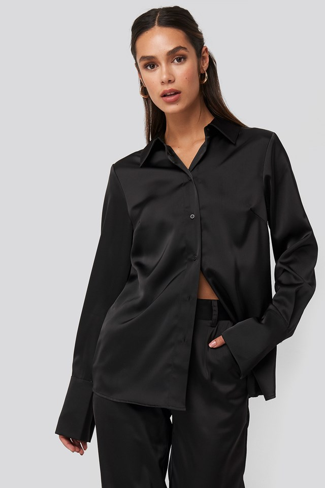 Straight Fitted Satin Blouse NA-KD Trend
