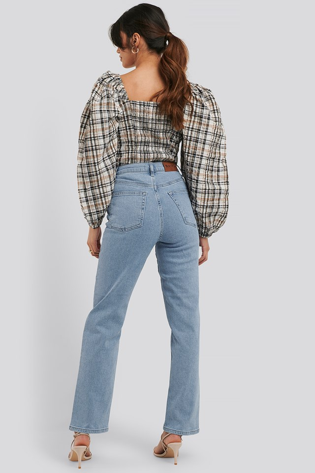 Straight High Waist Jeans Light Blue