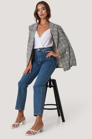 Mid Blue Straight High Waist Jeans