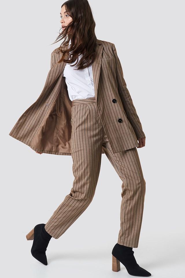 Straight Leg Striped Suit Pants Beige