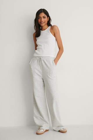 Grey Melange Organic Straight Leg Sweatpants
