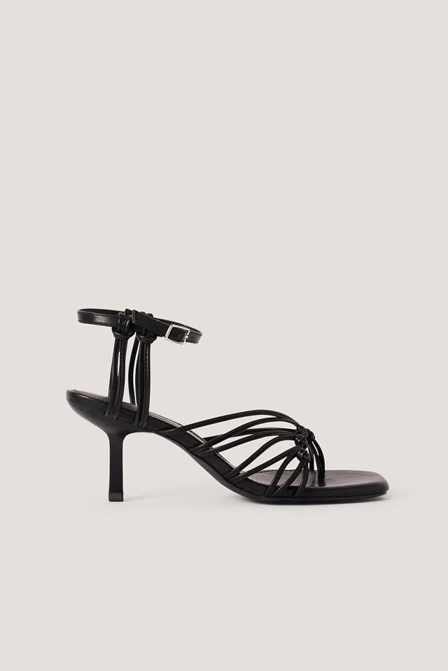 Black Strappy Back Toe Ring Sandals