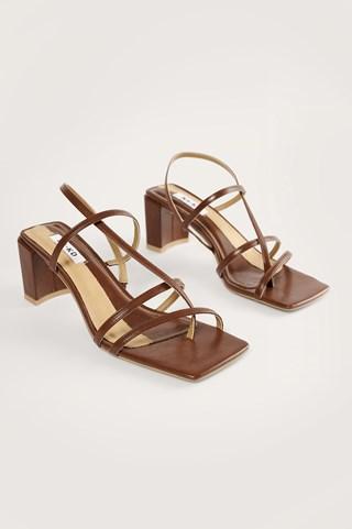 Chocolate Strappy Block Heels