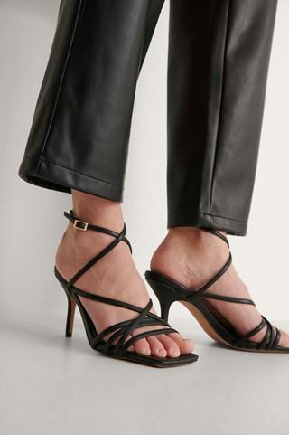 Black Strappy High Heel Sandals