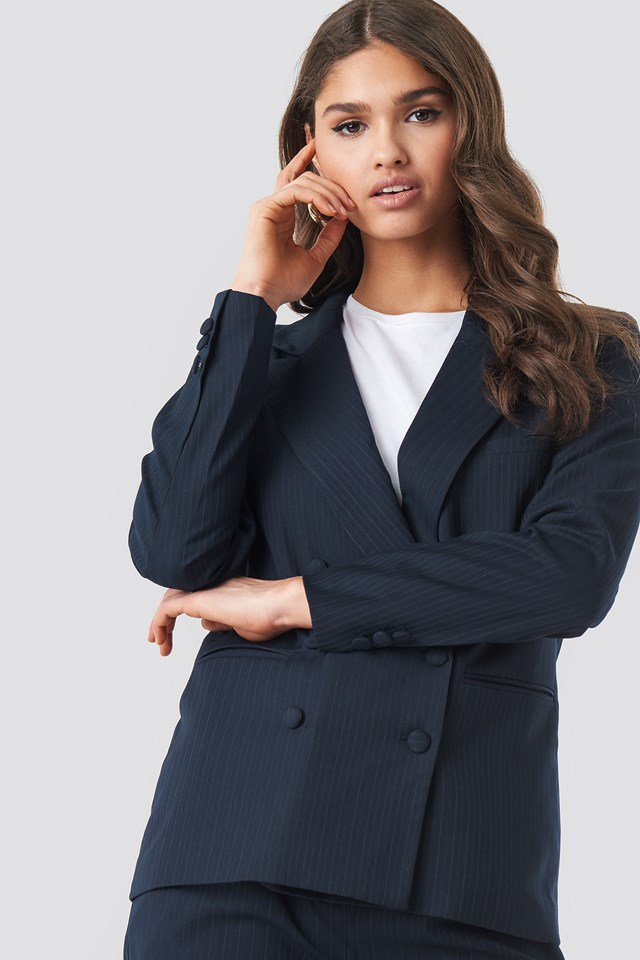 Striped Double Breasted Blazer NA-KD Classic