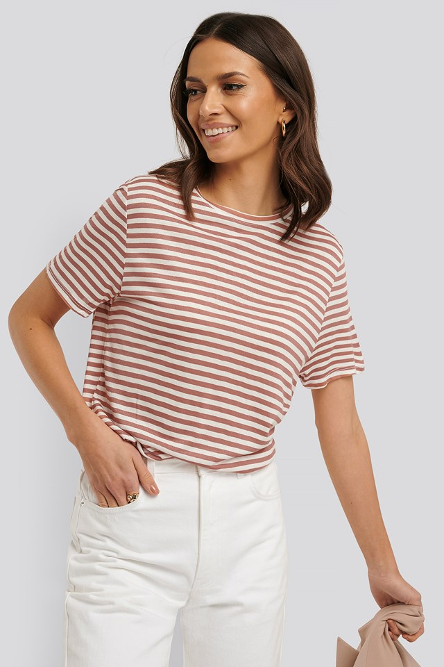 Striped Viscose Tee Dusty Pink