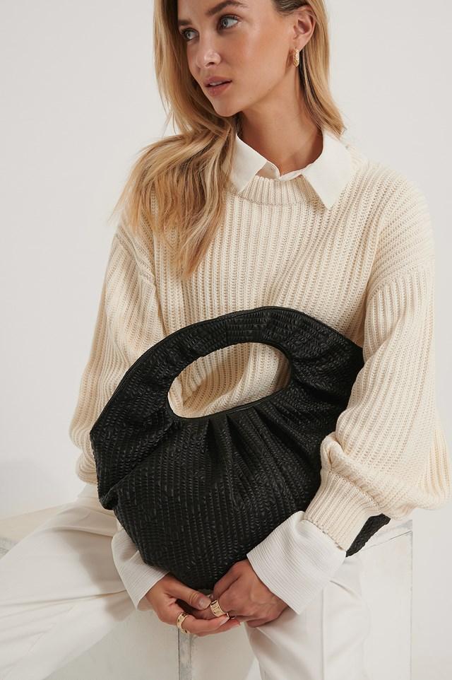 Structured Draped Round Bag Black