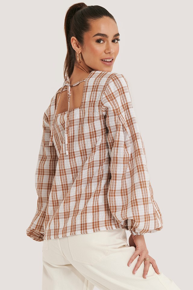 Structure Check Blouse Pink/White