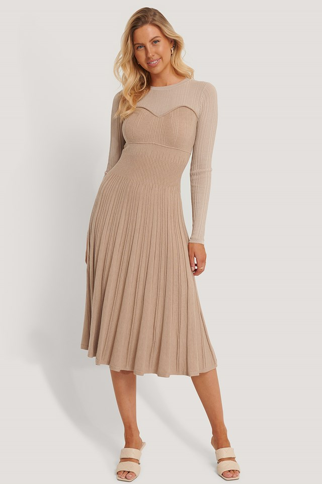 Structure Knitted Dress Beige