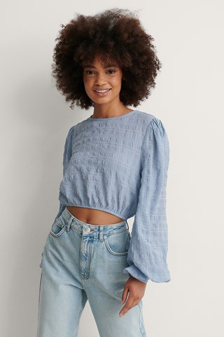 Dusty Blue Structured Cropped LS Blouse