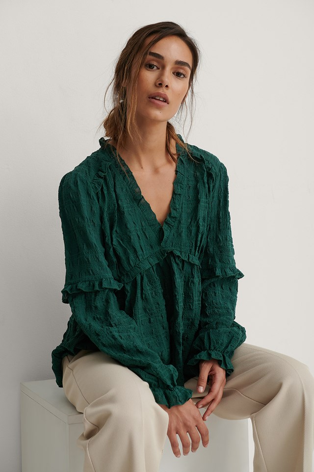 Structured Frill Blouse Green