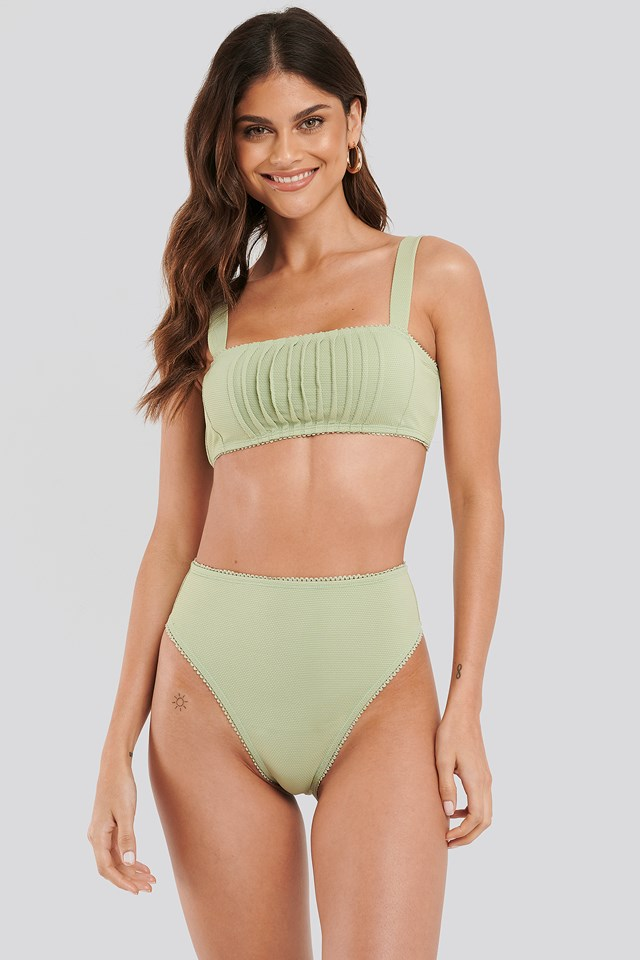 Structured Lace Edge High Waist Bikini Panty Dusty Green