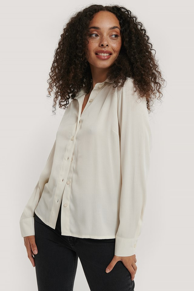 Structured Long Sleeve Blouse White
