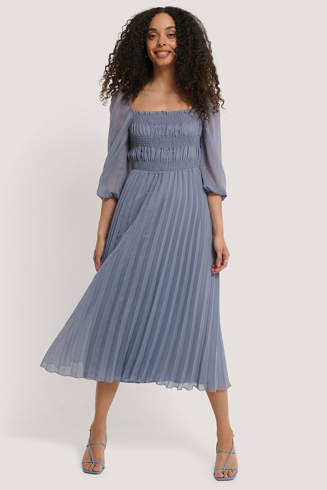 Structured Midi Dress Stone Blue