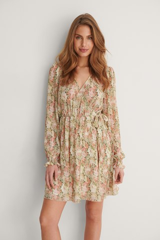 Big Flower Print Structured Overlap V-Neck Dress