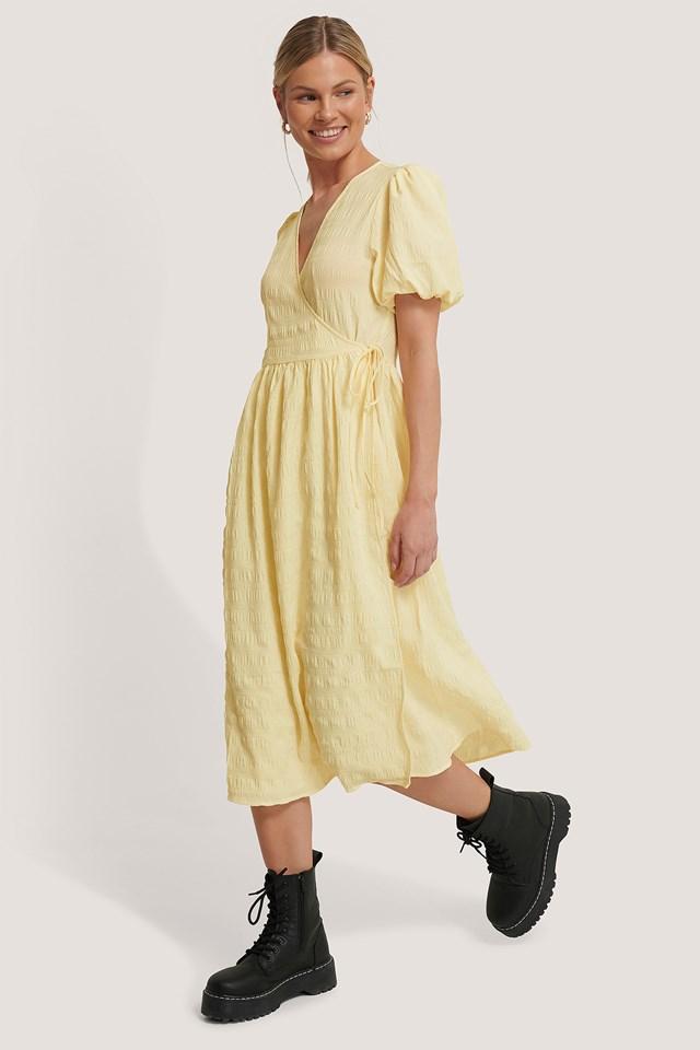 Structured Overlap Midi Dress Cream