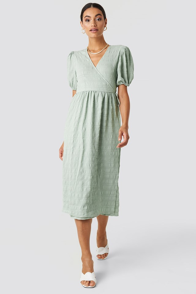 Structured Overlap Midi Dress Dusty Green