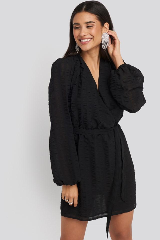 Structured Overlap Mini Dress Black