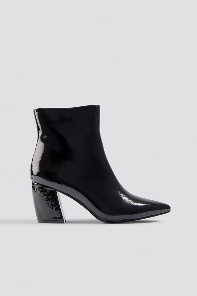 Structured Patent Mid Heel Boots NA-KD Shoes