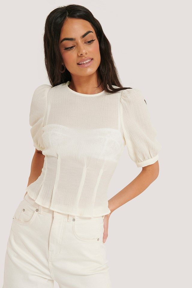 Structured Round Neck Blouse Off White