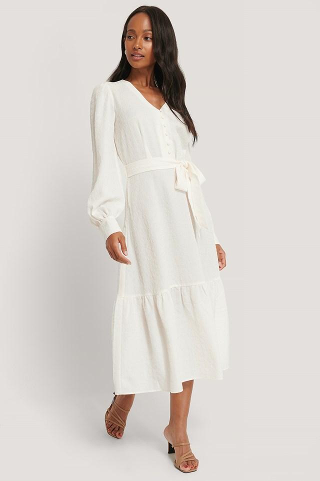 Structured Tie Waist Dress White