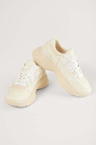 White/Cream Structured Upper Sneakers