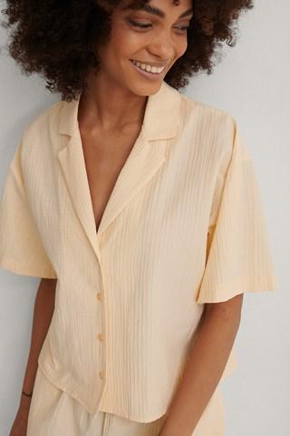 Rose Tan Structured Short Sleeve Organic Lounge Shirt